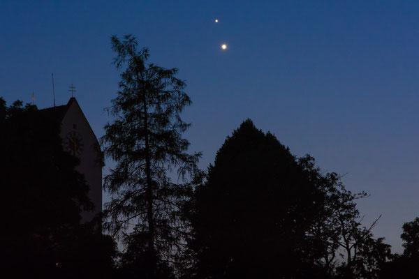 Venus und Jupiter vor der Konjunktion am Abend des 30.06.2015