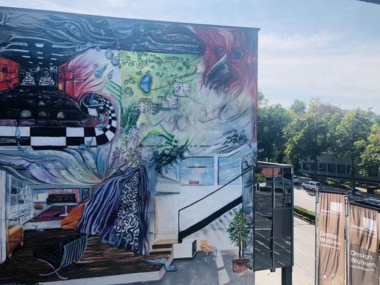 Aussicht auf Graffiti am Filmpalast (Kino) Iserlohn - Ergotherapie Jensen (Praxis Iserlohn)