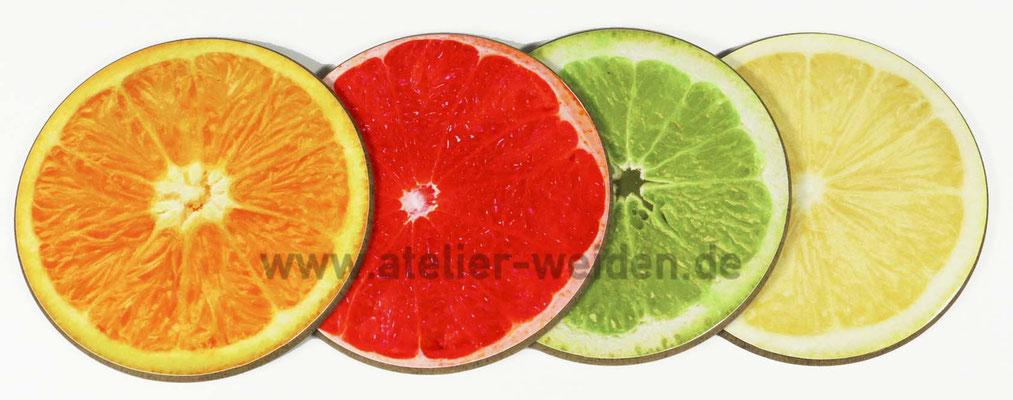 Untersetzer-Fruchtmix aus Orange, Blutorange, Limette und Zitrone