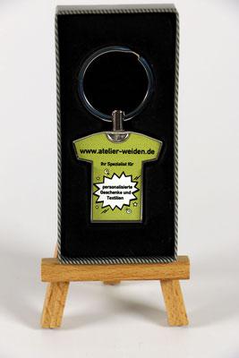 Metall-Schlüsselanhänger mit frei gestaltbarer Motivfläche.