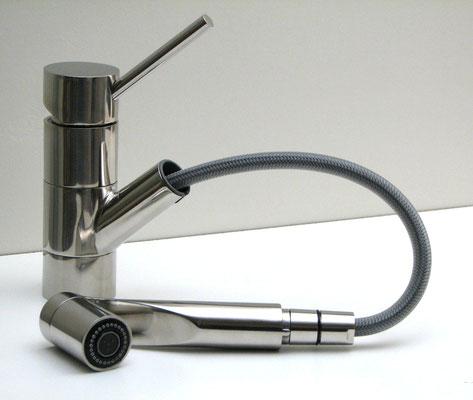 Design 1-Loch Küchenarmatur mit Auszugsbrause, EILEEN-pus, Edelstahl-gebürstet