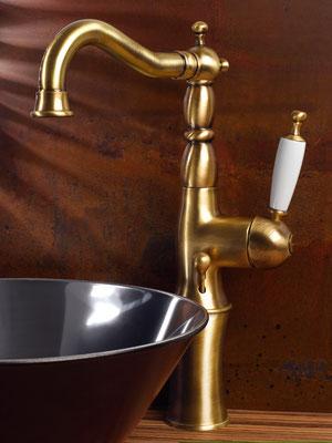 Nostalgische, hohe Waschtischarmatur für Waschschüsseln, BRIGHTON, Bronze
