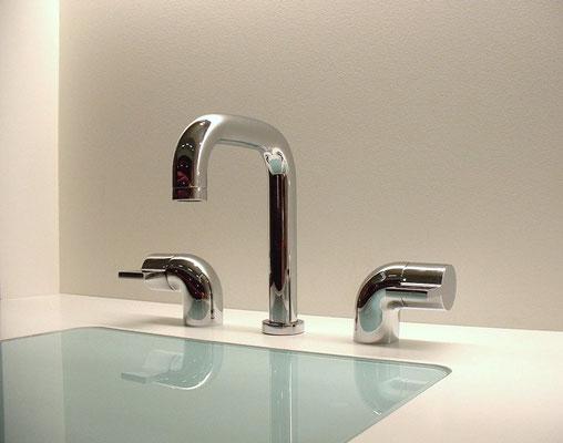 3-Loch Design Waschtischarmatur, NOVITA, Chrom
