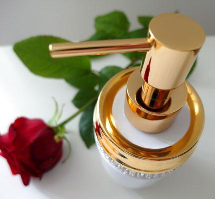 Eleganter Porzellan Seifenspender mit Kristallelementen, Gold