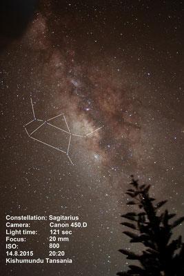 Das Sternbild Schütze in der Milchstraße.