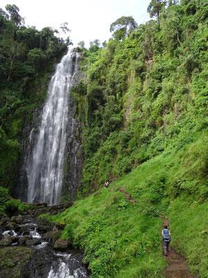 Der Mnambe Wasserfall mit ca. 50 m Fallhoehe oberhalb der Schule bei der Ortschaft Materuni.