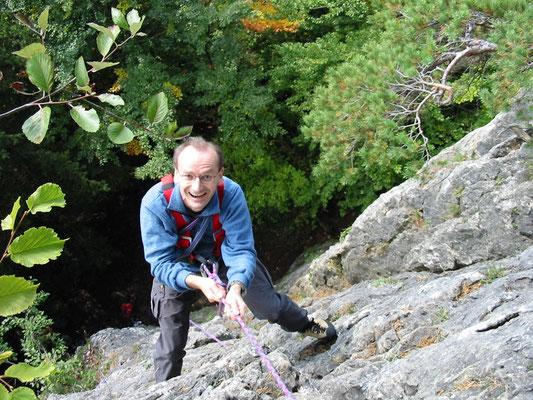 Beim Klettern in der Fränkischen Schweiz