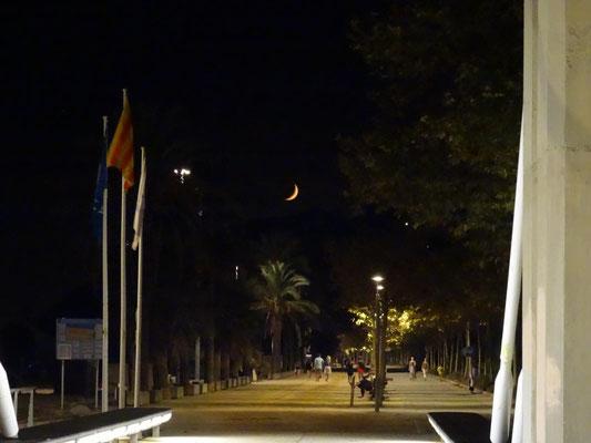 Strandspaziergang zu später Stunde mit tollen Monduntergang.
