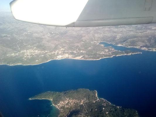 Die Adriaküste etwas nördlich von Dubrovnik.