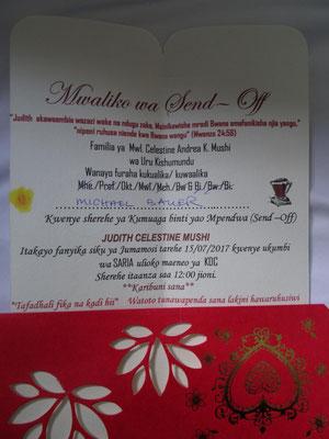 """Meine Einladung zur """"Send Off"""" Feier."""