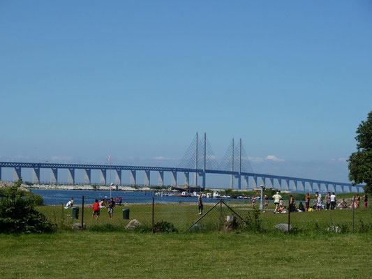 öhresudbrücke vom malmöcampingplatz aus vor der rückfahrt