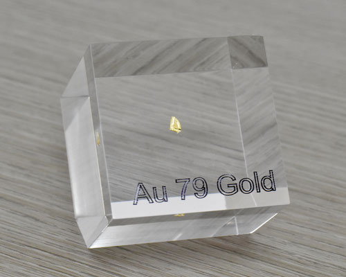 gold metal, gold piece, gold nuggets, gold acrylic cube, nova elements gold