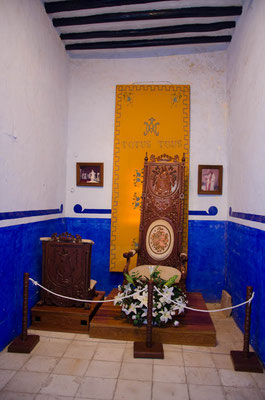 Hier saß Papst Johannes Paul II. Stolz ist man hier darauf