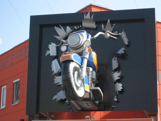 Werbung eines Harley Restaurants