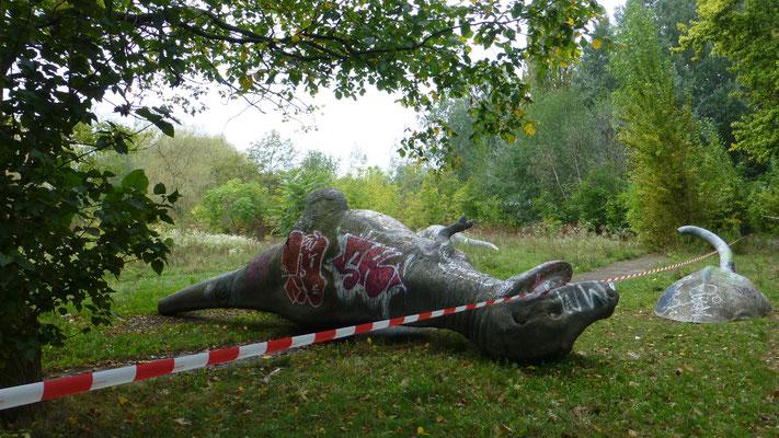Dinosaure,  ancien parc d' attraction, Treptower Parc , Berlin, D, P1050376