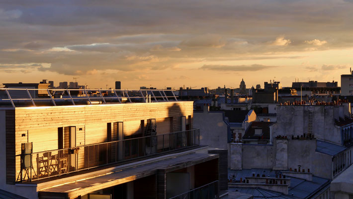 Sunset, Panthéon depuis Parodi, 75010 Paris, F,