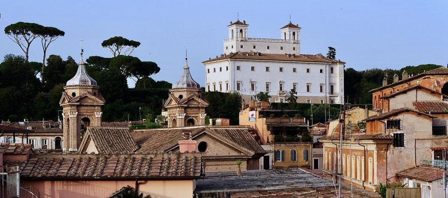 La Villa Médicis, depuis Terrasse de l'hôtel Mozart, Rome, Italie, It,