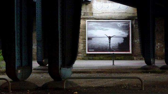 """Advertising, under a bridge, near """"Philipshalle"""", Dusseldorf, Germany, D,"""