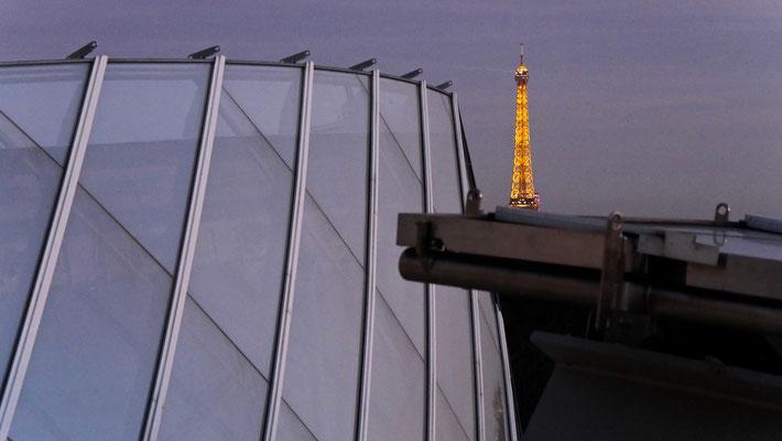 Tour Eiffel, depuis la Fondation Louis Vuitton, Franck Gehry, 2014,  75016 Paris, F,