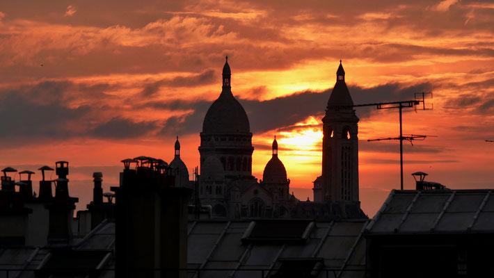 Sunset, Sacré Coeur depuis  Parodi, 75010 Paris, F,