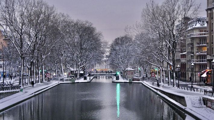 Neige, Ecluse des Morts, Canal Saint Martin, 75010 Paris, F,