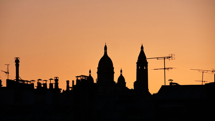 Sunset, Le Sacré Coeur, depuis Parodi, 75010 Paris, F
