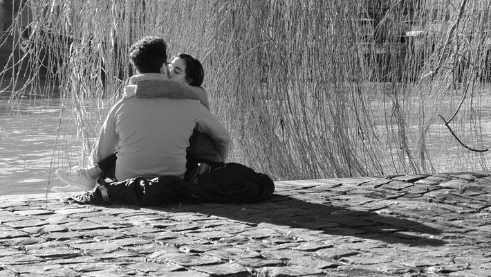 Baiser, Couple, sous le saule du Vert-Galand, Pointe de l' Ile de le Cité, 75001 Paris, F,