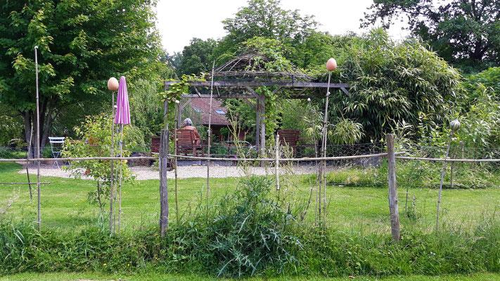 03.06. Blick vom Hühnergehege auf den Zaun