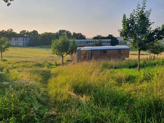 Waldgarten-Tinyhouse mit Seminarhaus hinten
