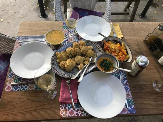 Blumenkohl aus dem Ofen - Kartoffeln, Kürbis und Süsskartoffeln aus der Friteuse