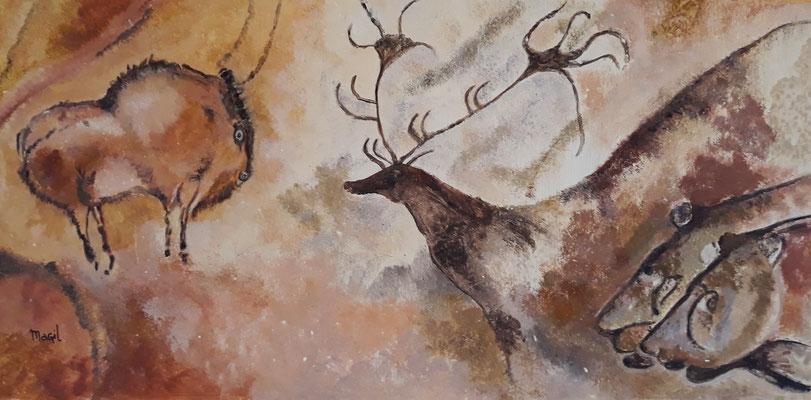 15.06. Ursula nimmt zwei solcher Kopien uralter Wandmalerei aus Südfrankreich mit nach Hause