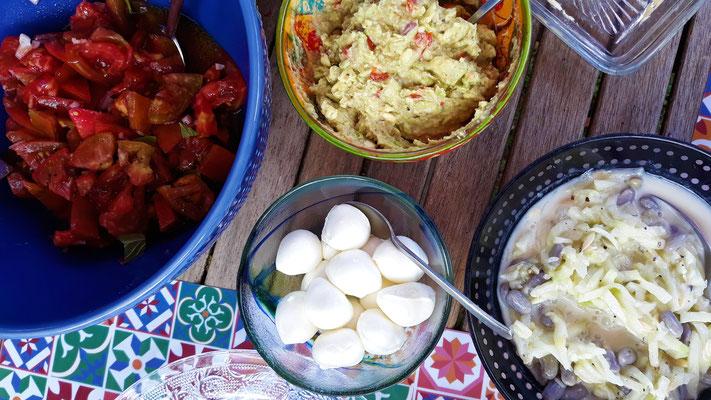 Büffelmozarella, Tzatziki, Tomatensalat und Guacamole