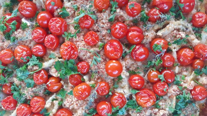 Fenchel-Kirschtomaten-Crumble