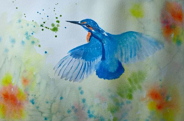 Eisvogel, gemalt von Brigitte Huber