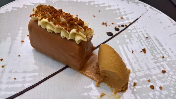 Dessert: Buchette chocolat lait / Eclats au caramel