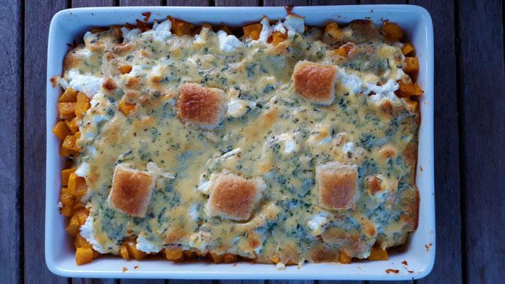 Kürbis-Karotten-Auflauf mit Blauschimmelkäse