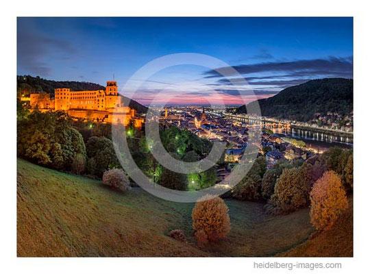 Archiv-Nr. hc2014140 / Heidelberg, Schlossblick, Altstadt und Rheinebene im Sonnenuntergang