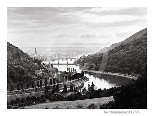 Archiv-Nr. 48-54H / Heidelberg, Neckartal mit Blick in die Rheinebene / 50er- Jahre