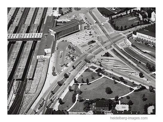 Archiv-Nr. L10_269 / Luftbild vom neuen Heidelberger Hauptbahnhof 1961