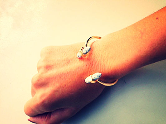 Bracelet Manchette Marbre Blanc en Or Happiness boutique