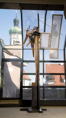 WEGZEICHEN II, Eiche/Stahl/Papier, 440x200x180 cm, 2008