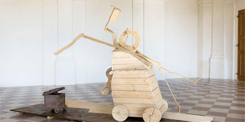 NIX WIE WEG, Eiche/Fichte/Stahl, 380x220x180 cm, 2005