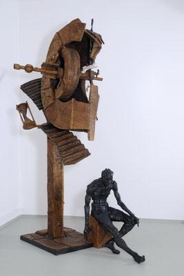 ZEITWEISE, Eiche/Bronze/Stahl, 300x200x180 cm, 2010