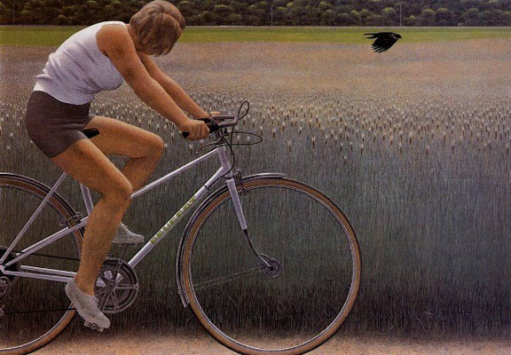 Alex Colville - Cyclist and Crow