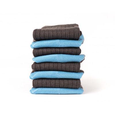 7 paires de chaussettes en laine bleu grise - fabrication Française