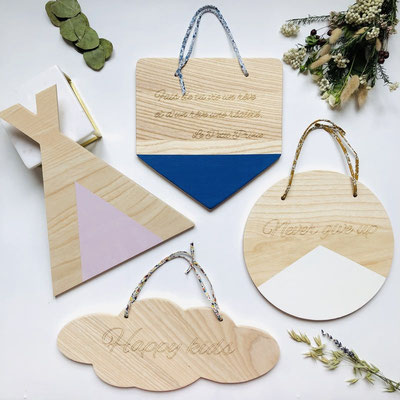 Pancarte personnalisable en bois massif