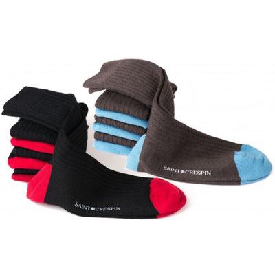 7 paires de chaussettes en laine bleu grise / rouge noire - fabrication Française
