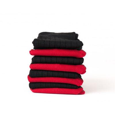 7 paires de chaussettes en laine rouge noir - fabrication Française