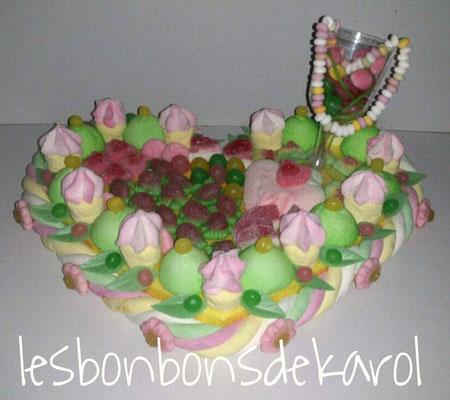 coeur gourmand - 38 € (env. 745 gr et 125 +++ bonbons - 38x30x16 cm)