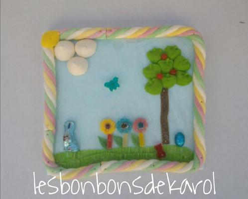 jardin de pâques 12,50 € (env. 295 bonbons et chocolats - 29 x 32 cm)